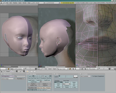 3D губы, ноздри и уши