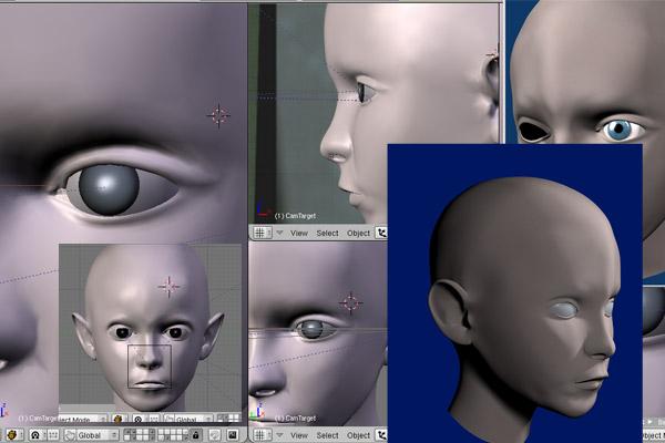 Подгонка век при 3D моделировании головы